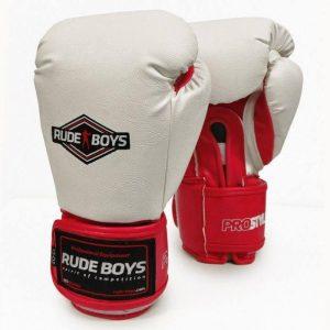 Guantes de boxeo Rude Boys Pro Style blancos